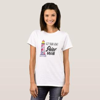 Deixe sua tipografia brilhante do farol do brilho camiseta
