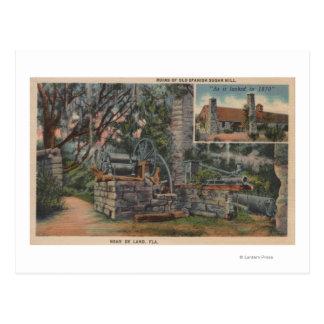 Deland FL - ruínas do moinho de açúcar espanhol v Cartao Postal