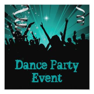 Delírio azul da multidão do evento do dance party convite quadrado 13.35 x 13.35cm
