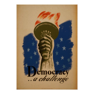 Democracia um poster vintage de WPA do desafio