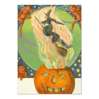 Demónio do fogo da bruxa da abóbora de Jack Convite 12.7 X 17.78cm