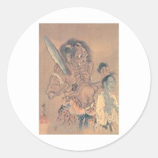 Demónio japonês com uma espada adesivo redondo