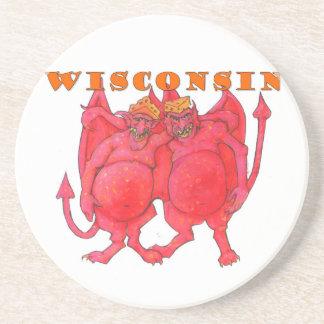 Demónios de Wisconsin Cheesehead Porta Copos De Arenito