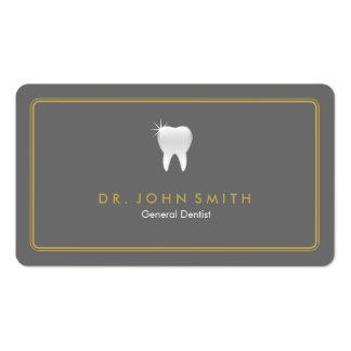 Dente cinzento arredondado ouro do quadro dental cartão de visita