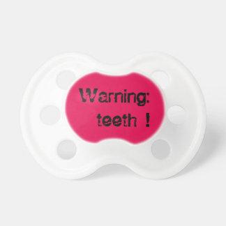 Dentes de advertência chupeta para bebê