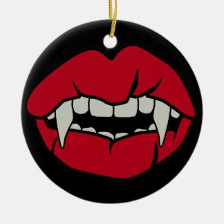 Dentes do Vamp Ornamento De Cerâmica Redondo