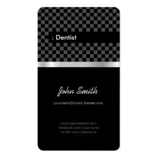 Dentista - Checkered preto elegante Cartão De Visita