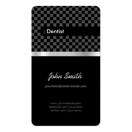 Dentista - Checkered preto elegante Modelo Cartao De Visita