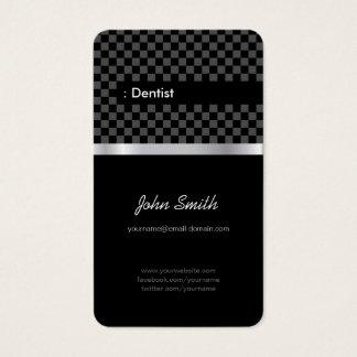 Dentista - Checkered preto elegante Cartão De Visitas