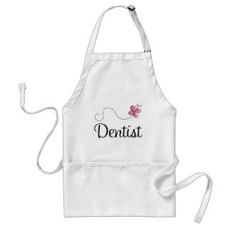 Dentista cor-de-rosa bonito da borboleta avental
