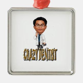 Dentista louco ornamento quadrado cor prata