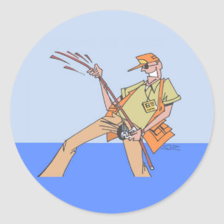 Dentro das etiquetas redondas do pescador