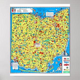 Departamento 1966 retro de Ohio do mapa das Impressão