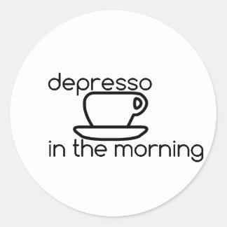 depresso na etiqueta da manhã