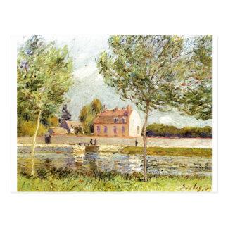 Der Loing 1889 de Alfred Sisley Häuser am Ufer Cartões Postais
