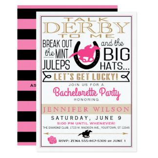 Derby feminino/festa de solteira convite 12.7 x 17.78cm