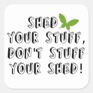 Derrame seu material não enchem sua vertente adesivos quadrados