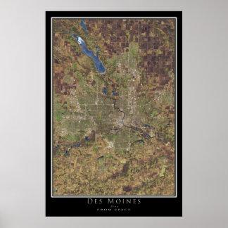 Des Moines Iowa da arte do satélite do espaço Poster