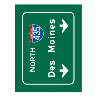 Des Moines, sinal de estrada de IA Cartão Postal