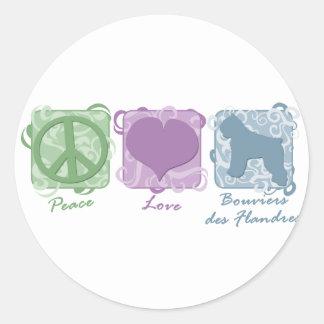 DES Pastel Flandres da paz, do amor, e do Bouviers Adesivo