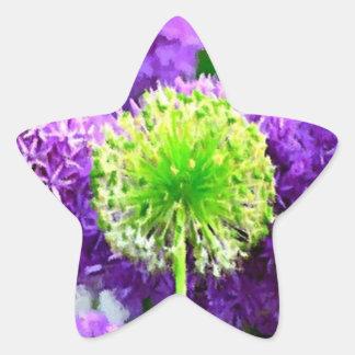 Desafio a ser flores diferentes do roxo do verde adesivos em forma de estrelas