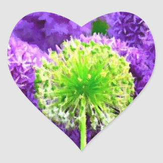 Desafio a ser flores diferentes do roxo do verde adesivos de corações