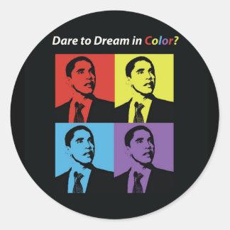 Desafio de Obama para sonhar a etiqueta Adesivo Em Formato Redondo