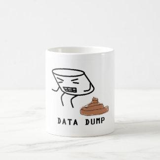 Descarga dos dados caneca de café