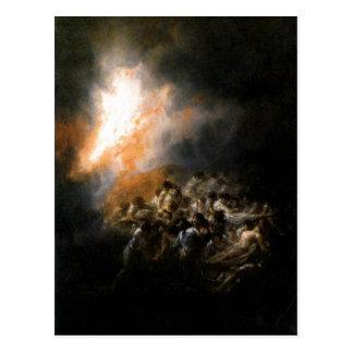 Descrição sumária Incendio, fuego de noche. ? leo Cartoes Postais