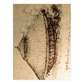 Descrição sumária Leonardo da Vinci, design para Cartoes Postais