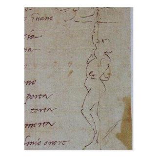 Descrição sumária Michelangelo, illustrat do esboç Cartao Postal