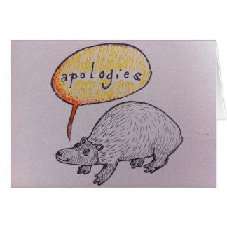 Desculpa bonito do bicho cartão comemorativo