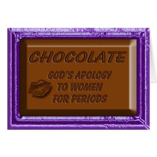Desculpa do cartão de nota do chocolate às mulhere
