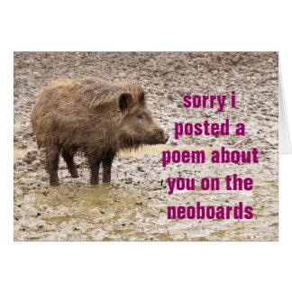 desculpa do poema cartão comemorativo