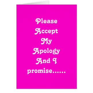 Desculpa dos amantes cartão comemorativo