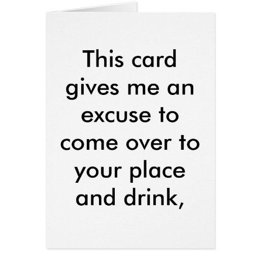 Desculpa para uma bebida do aniversário cartao