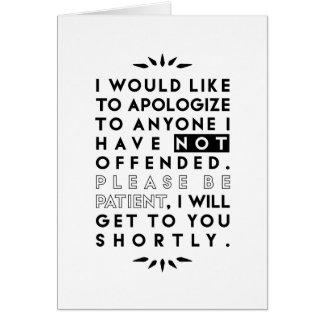 desculpe-se cartão comemorativo