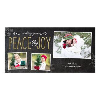 Desejando cartões de foto de Natal da paz & da