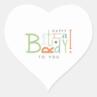 Desejando o feliz aniversario! adesivo em forma de coração