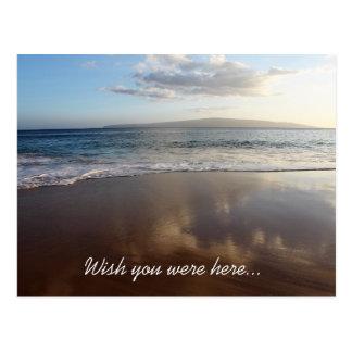 Desejo bonito da praia você estava aqui cartão