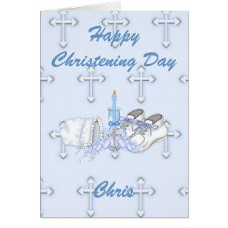 Desejo do batismo dos meninos cartão comemorativo