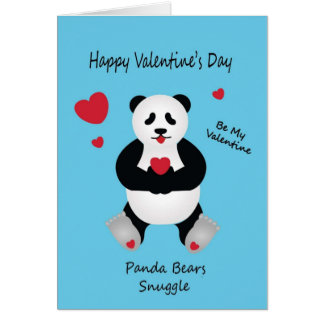 Desejo do dia dos namorados de urso de panda para cartão comemorativo
