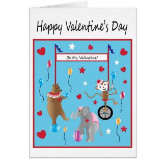 Desejo do dia dos namorados do circo para crianças cartão comemorativo