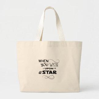 desejo em cima de uma estrela bolsa tote grande