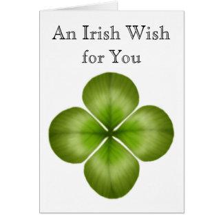 Desejo irlandês para você cartão do trevo
