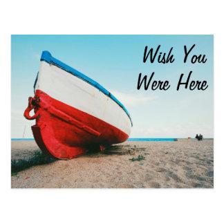 Desejo você estava aqui cartão do barco das férias