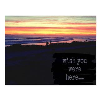 Desejo você estava aqui, cartão do por do sol