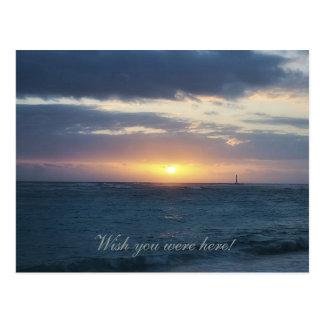 Desejo você estava aqui: Cartão do por do sol da