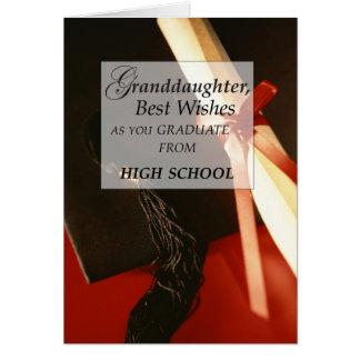 Desejos da conclusão do ensino secundário da neta cartão comemorativo