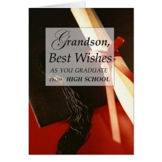 Desejos da conclusão do ensino secundário do neto cartão comemorativo